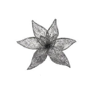 X-Mas DEKORAČNÍ KVĚTINA - barvy stříbra