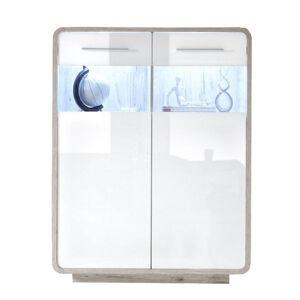 Xora KOMODA, bílá, barvy dubu, 105/145/40 cm - bílá, barvy dubu