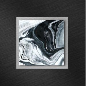 OBRAZ NA SKLE, kameny, struktury, 50/50 cm - černá, bílá