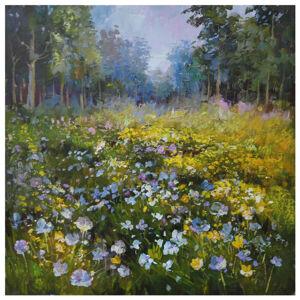 Monee OLEJOMALBA, krajina & příroda, 150/70 cm - modrá, žlutá, zelená