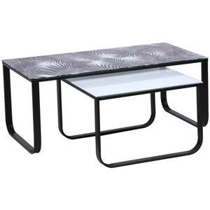 Carryhome SADA KONFERENČNÍCH STOLŮ, černá, bílá, kov, sklo, 105/55/42 cm