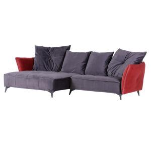 Landscape SEDACÍ SOUPRAVA, textil, červená, tmavě šedá - červená, tmavě šedá
