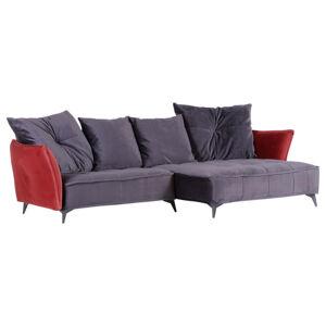 SEDACÍ SOUPRAVA, textil, červená, tmavě šedá - červená, tmavě šedá