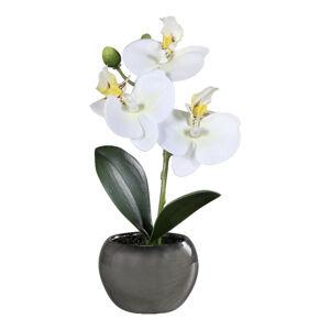 UMĚLÁ KVĚTINA orchidej 17 cm - krémová