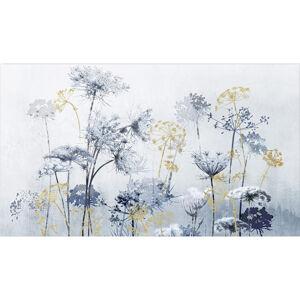 Monee UMĚLECKÝ TISK, květiny, 120/70 cm - modrá, barvy zlata