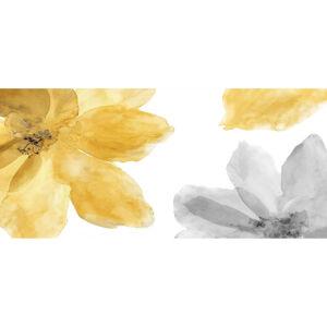 Monee UMĚLECKÝ TISK, květiny, 55/55 cm, - žlutá, šedá, bílá